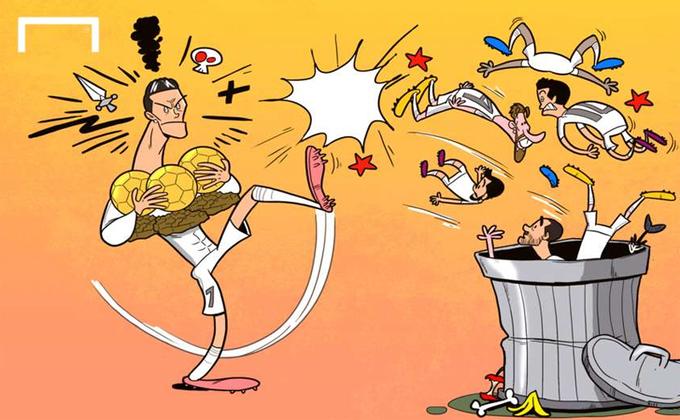 'Ronaldo đá đồng đội vào thùng rác'