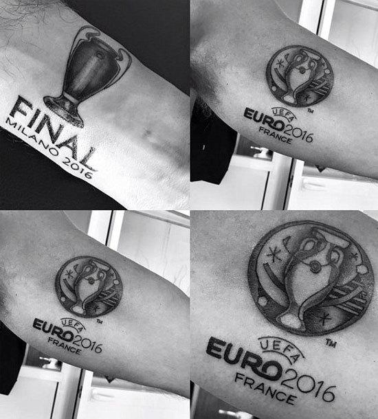 Trọng tài Mark Clattenburg xăm hình Euro và Champions League
