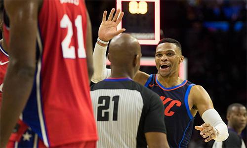 Thunder thắng Philadelphia 76ers trong trận cầu có tới ba hiệp phụ