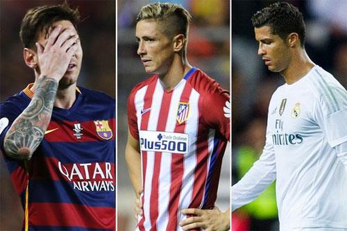 Messi, Torres, Ronaldo là ba ngôi sao hàng đầu của Barca, Atletico và Real, những đội luôn cạnh tranh với nhau trong cuộc đua La Liga.