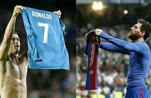 Ronaldo cởi áo để đáp lạinhững gì Messi từng làm trên sân Bernabeu.