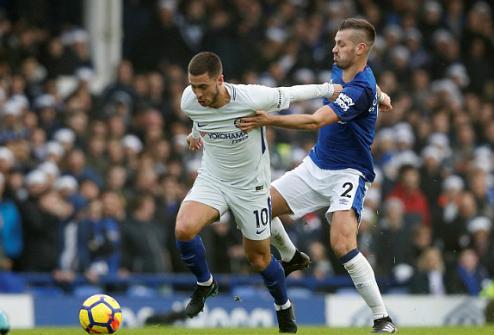 Eden Hazard luôn bịkèm sát từ ngay khi nhận bóng ở giữa sân. Ảnh:Reuters.