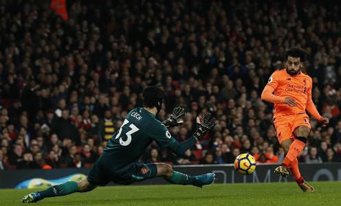 Salah ghi bàn thứ 15 tại Ngoại hạng Anh mùa này. Ảnh:AFP.