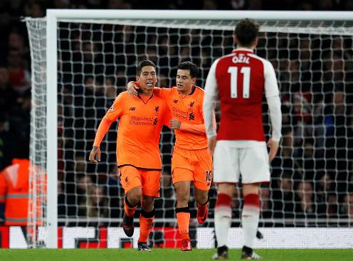 Firmino ghi bàn ấn định tỷ số 3-3. Ảnh:Reuters.