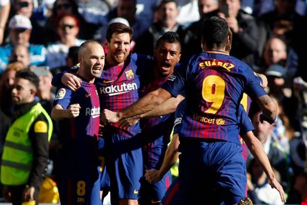 Barca một lần nữa hưởng niềm vui chiến thắng El Clasico ngay tại Bernabeu. Ảnh: Reuters.