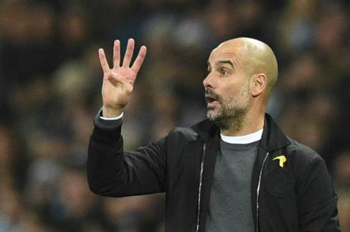 Pep Guardiola và Man City có chiến thắng bốn sao ngọt ngào trong trận cuối cùng chơi trên sân nhà năm 2017. Ảnh:AFP.