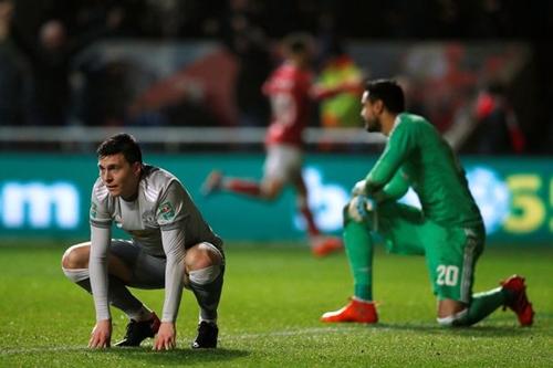 Man Utd vừa thua sốc Bristol City ở tứ kết Cup Liên đoàn giữa tuần trước. Ảnh: Reuters.