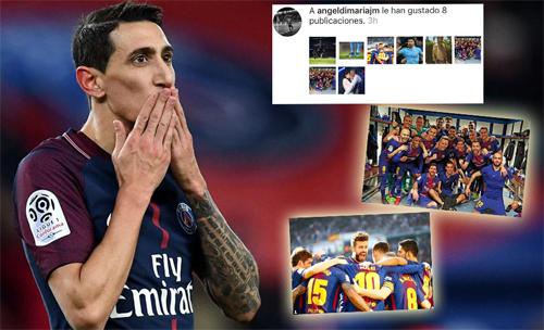 Di Maria thích ảnh Barca mừng trận thắng đội cũ Real.