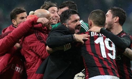 Gattuso chia vui cùng học trò sau chiến thắng. Ảnh: AFP.