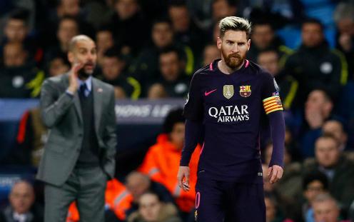 Guardiola và Man City từng đánh bại Barca trên sân Nou Campở vòng bảng Champions League mùa trước. Ảnh:Reuters.