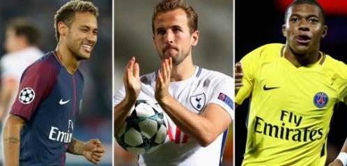 Từ trái qua phải: Neymar, Kane và Mbappe.
