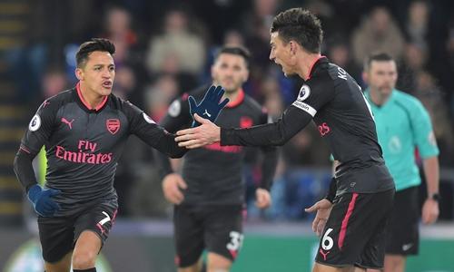Sanchez mừng bàn thắng vào lưới Crystal Palace. Ảnh: Shutterstock.