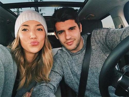 Morata và bà xã sẽ bận rộn hơn trong năm 2018 khi còn liền hai em bé. Ảnh: Instagram
