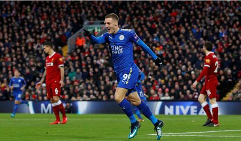 Vardy lần thứ bảy làm tung lưới Liverpool trong sự nghiệp. Ảnh:Reuters.