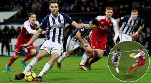 Pha bóng goã hoà 1-1 gây tranh cãi trong trận đấu giữa West Brom và Arsenal. Ảnh: Reuters
