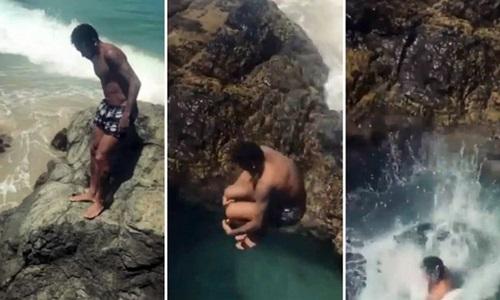Neymar nhảy từ mỏm đá cao xuống biển. Ảnh: Instagram.