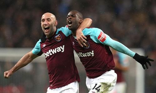 Obiang ghi siêu phẩm, đưa West Ham vượt lên ngay ở pha dứt điểm đầu tiên. Ảnh: BPI.
