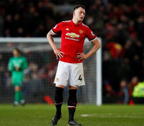 Phil Jones và Man Utd phải nhận không ít kết quả bất lợi trong một tháng thi đấu vừa qua. Ảnh: Reuters