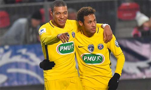 Neymar và Mbappe giúp PSG khiến mọi việc trở nên dễ dàng. Ảnh: AFP.