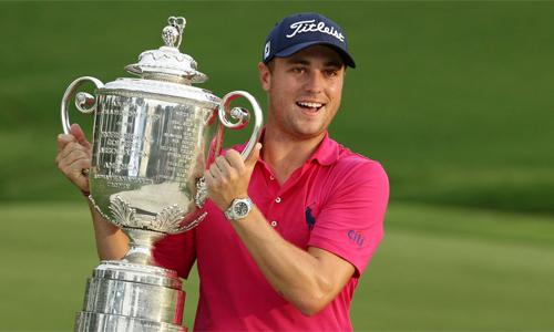 Thomas đoạt 5 cúp PGA Tour ở mùa giải 2017, trong đó có giải major PGA Championship. Ảnh: Reuters.