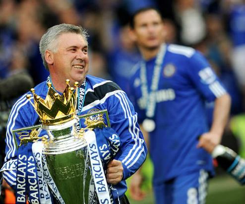 Ancelotti từng vô địch Ngoại hạng Anh ngay trong mùa đầu tiên dẫn dắt Chelsea. Ảnh:AFP.