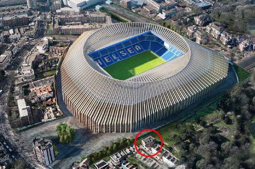 Gia đình trong tòanhà được khoanh đỏ bên cạnh sân mới của Chelsea theo bản dựng.