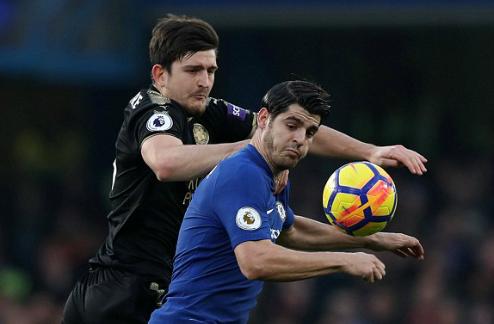 Morata gần như biến mất trước hàng thủ Leicester. Ảnh:Reuters.