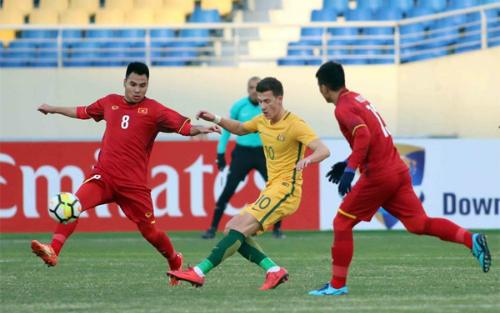 Đánh bại Australia, Việt Nam có trận thắng đầu tiên ở giải U23 châu Á.Ảnh: Anh Khoa.