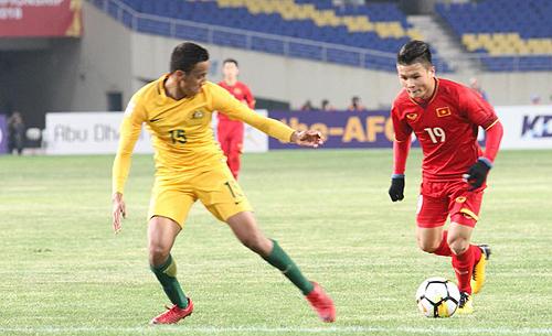 Quang Hải xé tung hàng thủ Australia, giúp U23 Việt Nam có chiến thắng lịch sử. Ảnh: Hoàng Linh