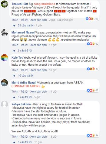 Một số lời chúc tụng Việt Nam trên mạng xã hội của Liên đoàn bóng đá Đông Nam Á. Ảnh chụp màn hình.