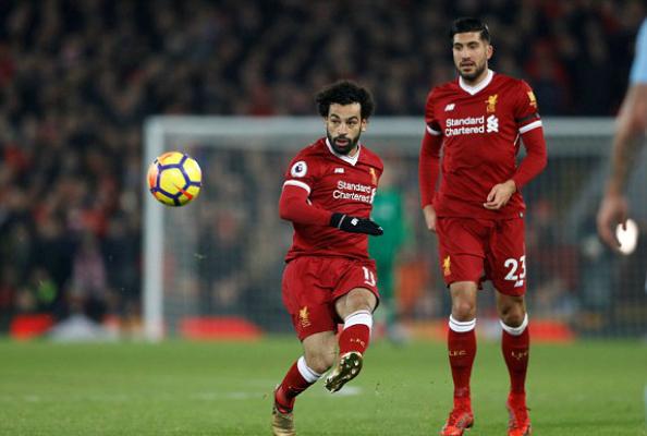 Salah ghi bàn thắng thứ 18 ở Ngoại hạng Anh mùa này. Ảnh:Reuters.