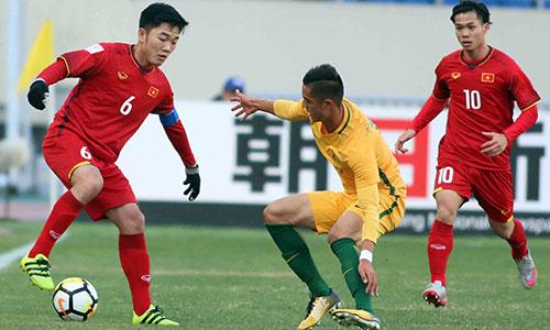 Xuân Trường (6) và các đồng đội đang tạo nên sự bất ngờ tại VCK U23 châu Á 2018 tại Trung Quốc. Ảnh: Anh Khoa.
