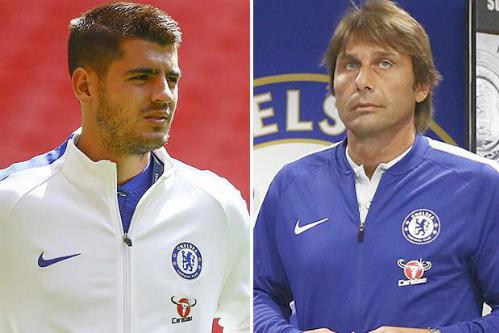 Conte và Morata đều đang chịu sức ép lớn về những kết quả không tốt của Chelsea. Ảnh:Reuters.