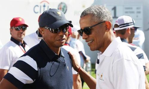 Tiger Woods không chơi ở PGA Tour từ tháng Một năm ngoái sau khi không vượt qua nhát cắt của Famers Insuarance Open. Vòng golf với cựu Tổng thống Obama là lần đầu Woods xuất hiện trong năm 2018. Ảnh: Golfworld.