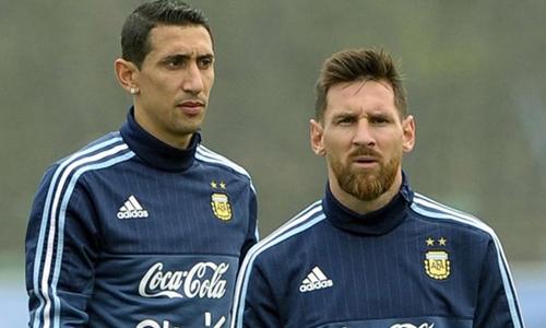 Messi và Di Maria là hai ngôi sao hàng đầu của Argenitna hiện nay. Ảnh: AFP.