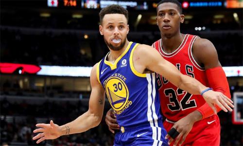 Curry (số 30) vượt qua sự bẽ bàng ở đầu trận, ghi 30 điểm và giúp Warriors nối dài mạch thắng sân khách. Ảnh: Warriors.