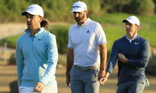 Fleetwood, Johnson và McIlroy (từ trái qua phải) đều thi đấu tốt tại vòng hai Abu Dhabi HSBC Championship. Ảnh: BPA News.