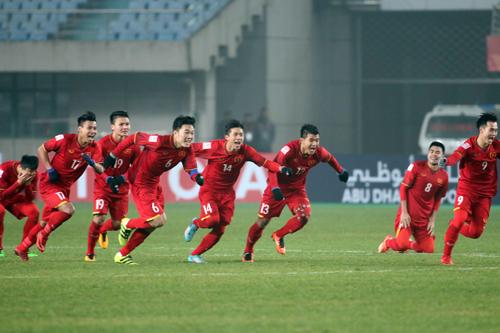 Các cầu thủ U23 Việt Nam trong chiến thắng trước Iraq hôm 20/1. Ảnh: Anh Khoa