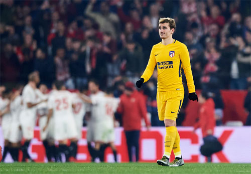 Trước khi bị loại khỏi Cup Nhà vua, Atletico của Griezmann đã phải chia tay Champions League ngay từ vòng bảng. Ảnh: Reuters