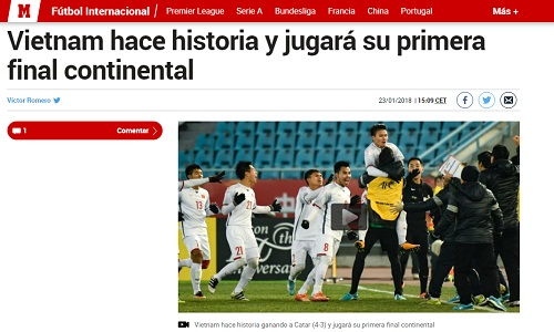 Marca đưa tin về chiến tích của Việt Nam.