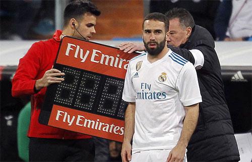 Carvajal vào sân trong hiệp hai trận thua Leganes nhưng không cứu được Real. Ảnh: Marca