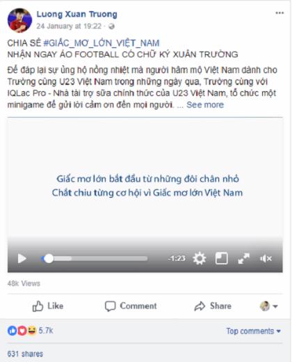Cộng đồng chia sẻ video Giấc mơ lớn Việt Nam trước trận chung kết