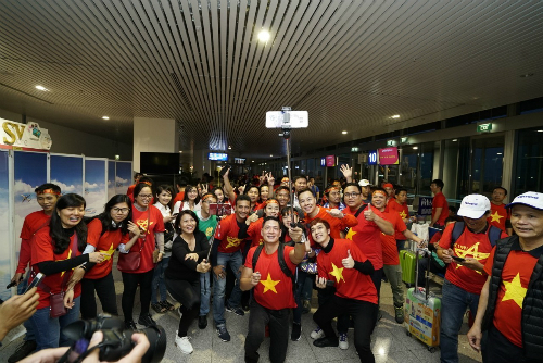 Sáng 27/1, chuyến bay mang số hiệu VJ2610 của hãng hàng không Vietjet khởi hành từ TP HCM đến Thường Châu (Giang Tô, Trung Quốc).