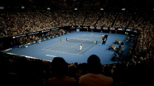 Trận đấu giằng co trong bốn set đầu. Ảnh:Tennis Australia.
