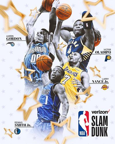 Aaron Gordon và ba cầu thủ khác tham gia tranh tài ở cuộc thi úp rổ. Ảnh: NBA.