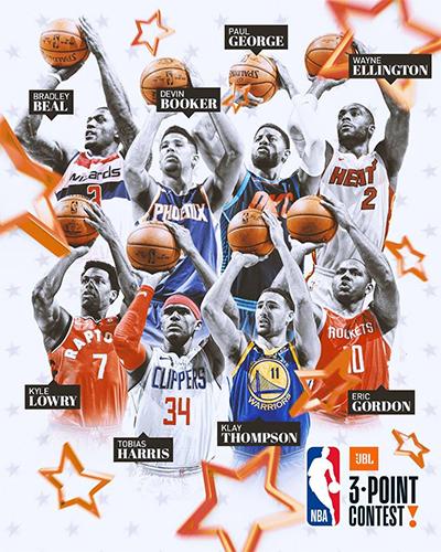 Tám ngôi sao sẽ tham gia tranh tài ở cuộc thi ném ba điểm. Ảnh: NBA.