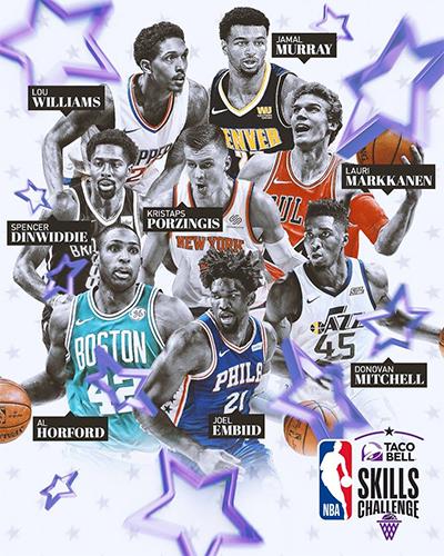 Những ngôi sao tham gia phần thi kỹ năng tại All-Star 2018. Ảnh: NBA.