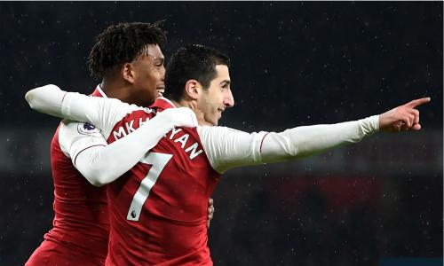 Mkhitaryan có màn trình diễn tuyệt vời như chơi cho Arsenal từ lâu. Ảnh:AFP.