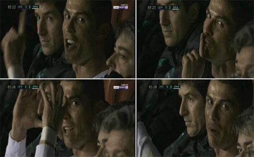 Những cử chỉ của Ronaldo khi về băng ghế dự bị.