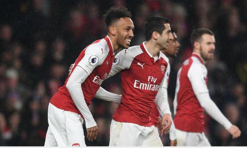 Aubameyang và Mkhitaryan chung vui trong màu áo mới. Ảnh:Sky Sports.
